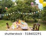 table setting food celebration... | Shutterstock . vector #518602291