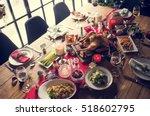 christmas family dinner table... | Shutterstock . vector #518602795
