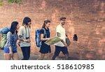 friends travel backpacker... | Shutterstock . vector #518610985