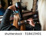 making hairstyle using hair... | Shutterstock . vector #518615401