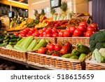 greengrocery with fresh fruits... | Shutterstock . vector #518615659