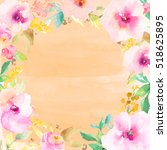cute watercolor flower frame.... | Shutterstock . vector #518625895