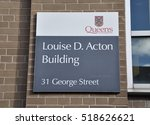 Small photo of Kingston, Ontario, Canada - November 12, 2016: Sign of Louise D. Acton building of Queen's University, Kingston.