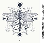 dragonfly tattoo. hand drawn... | Shutterstock .eps vector #518639209