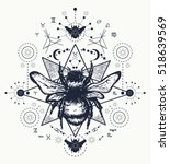 bee tattoo art. hand drawn ... | Shutterstock .eps vector #518639569