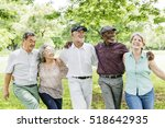 group of senior retirement... | Shutterstock . vector #518642935