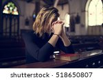 Woman sitting church religion...