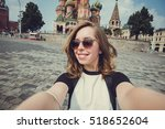 pretty young woman tourist... | Shutterstock . vector #518652604