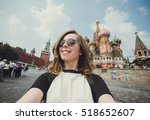 pretty young woman tourist... | Shutterstock . vector #518652607