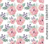 colorful floral seamless... | Shutterstock . vector #518654545