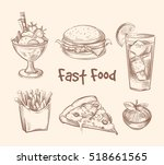 fast food set in hand drawn... | Shutterstock . vector #518661565