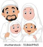 muslim family cartoon   Shutterstock .eps vector #518669965