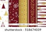 set of christmas seamless... | Shutterstock .eps vector #518674039