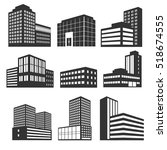 modern business buildings black ... | Shutterstock . vector #518674555