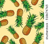 seamless tropical pattern with ... | Shutterstock . vector #518674765