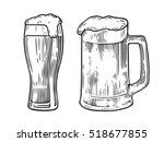 glass of beer isolated on white ... | Shutterstock .eps vector #518677855