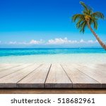 beautiful seascape and blue sky ... | Shutterstock . vector #518682961