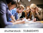 team working on project... | Shutterstock . vector #518683495