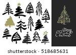 hand drawn grunge christmas... | Shutterstock .eps vector #518685631