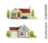 flat style modern buildings | Shutterstock .eps vector #518690089
