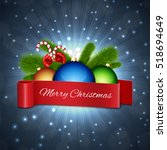 christmas card. christmas ball... | Shutterstock .eps vector #518694649
