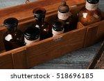 vintage glass bottles in wooden