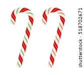 christmas candy canes  vector... | Shutterstock .eps vector #518702671