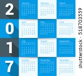 calendar for 2017 year. vector... | Shutterstock .eps vector #518703559