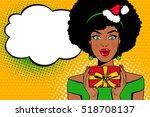 pop art face. sexy afro... | Shutterstock .eps vector #518708137