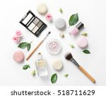 makeup cosmetic with macaroons... | Shutterstock . vector #518711629