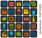 cinema retro movies icons set.... | Shutterstock .eps vector #518712001