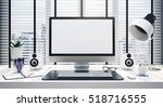 work desk with blank computer... | Shutterstock . vector #518716555