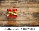 festive red gift box with... | Shutterstock . vector #518720869