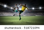 soccer players fighting for... | Shutterstock . vector #518721094