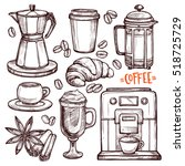coffee hand drawn collection.... | Shutterstock .eps vector #518725729