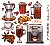 coffee color hand drawn... | Shutterstock .eps vector #518725741