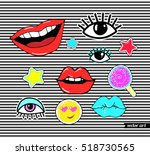 lips  eye  smile  star ... | Shutterstock .eps vector #518730565