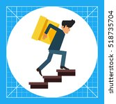 delivery man carrying box... | Shutterstock .eps vector #518735704