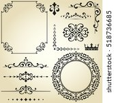 vintage set. floral elements... | Shutterstock . vector #518736685