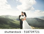 kissing wedding couple staying... | Shutterstock . vector #518739721