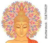buddha head over ornate mandala ... | Shutterstock .eps vector #518744029