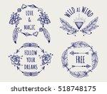 boho tribal style logo set with ... | Shutterstock .eps vector #518748175
