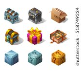 set of icons cartoon isometric...