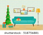 retro interior living room with ... | Shutterstock .eps vector #518756881