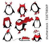 cute hand drawn penguins set....   Shutterstock .eps vector #518758069