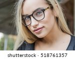 portrait of a young woman ... | Shutterstock . vector #518761357