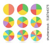 set of colored pie charts.... | Shutterstock .eps vector #518764375