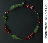 christmas round frame made of... | Shutterstock . vector #518776114