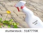 Small photo of application of weed killer, text for poison or biodegradable concept