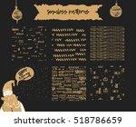 set of 6 winter golden seamless ... | Shutterstock .eps vector #518786659